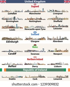 vector set of largest cities skylines icons of British Isles countries: United Kingdom (England, Wales, Scotland, Northern Ireland) and Republic of Ireland