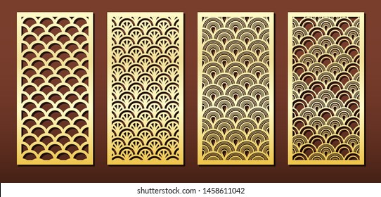 Vector set of laser cut panels. Islamic design with arabic geometric pattern. Stencil or template for wood or metal cutting, fretwork, engraving or carving, for interior decor or paper card .