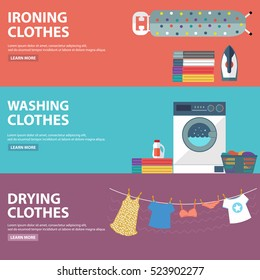 Vector set of laundry, clothes washing and ironing banners.