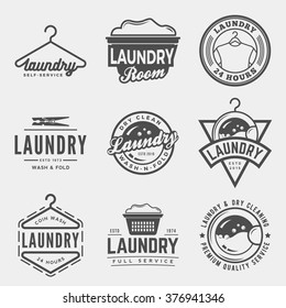 vector set of laundry logos, emblems and design elements. logotype templates and badges.