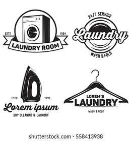 vector set of laundry logos emblems and design elements. logotype templates and badges. Vector illustration.