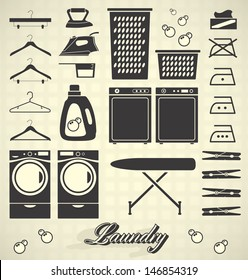 Vector Set: Laundry Room Labels and Icons