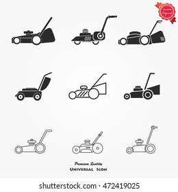 Vector set of lawnmower
