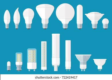Vector set of led bulbs with different base types. Flat style.