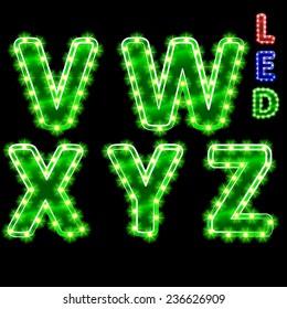 vector set of led illuminated letters. illustration clipart