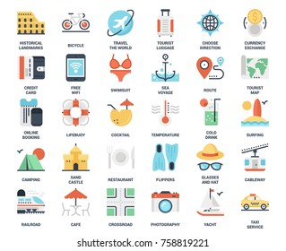 Vector set of leisure and tourism flat web icons. Each icon neatly designed on pixel perfect 48X48 size grid. Fully editable and easy to use.