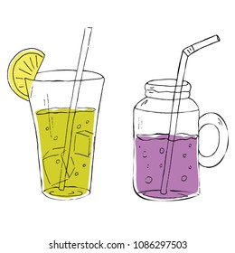 Vector set of lemonade or cocktails with ice in a tall glass and in a jar with a handle with straws, lime and violet, hand drawn sketch
