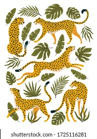 Vector set of leopards or cheetahs and tropical leaves. Trendy illustration.