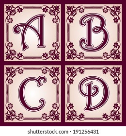 vector set of letters in the European vintage style.