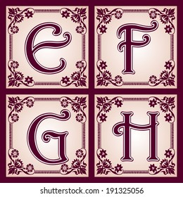 vector set of letters in the European vintage style. Part 2