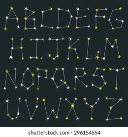 Vector set of letters made from constellations. Stylish abc with stars. Beautiful alphabet on the dark background.