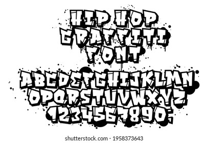 Vector set of letters and numbers in hip hop and street art graffiti style. Graffiti font on a white background for easy use. Vintage culture 90s street and youth subcultures.