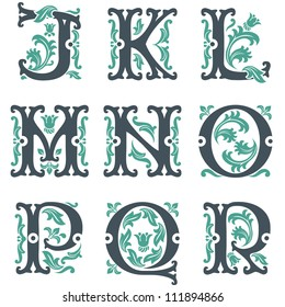 vector set of letters in the old vintage style. Part 2