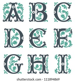 vector set of letters in the old vintage style. Part 3