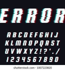 Vector set of letters in the style of errors, hindrances, glitch. Isolated letters and numbers.