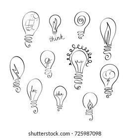 Vector set of light bulb icons with concept of idea. Doodle sign collection. Sketch design illustration for print, web, logos