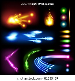 vector set: light effect, sparkles - lots of  graphic elements to embellish your layout