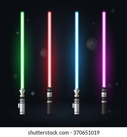 Vector set of light future swords, blue, green, red and purple light future swords