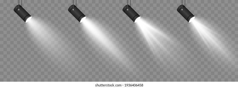 Vector set of light. Light source, studio lighting, walls, png. Spotlight lighting, spotlight PNG. Light beams, light effect.