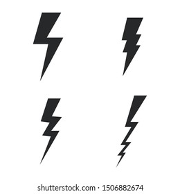 Vector set lightning bolt. Thunderbolt, lightning strike sign.