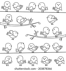 Vector Set of Line Art Cartoon Birds