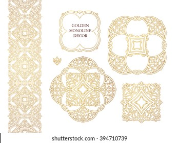 Vector set of line art decor, seamless borders for design template. Eastern style element. Golden outline floral decor. Mono line illustration for invitations, cards, certificate, thank you message.
