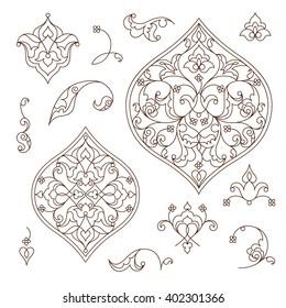 Vector set of line art decor, ornate vignettes for design template. Eastern style element. Black outline floral decor. Mono line illustration for invitations, cards, certificate, thank you message.