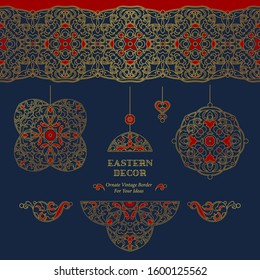 Vector set of line art frames and seamless borders fordesign template. Elements in Eastern style. Golden outline floral arabic ornament. Isolated line art ornaments.Gold monoline ornamental decoration