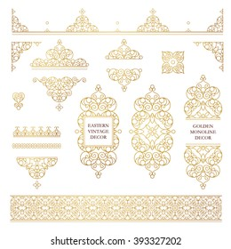 Vector set of line art frames and borders for design template. Element in Eastern style. Golden outline floral frames. Mono line decor for invitations, greeting cards, certificate, thank you message.