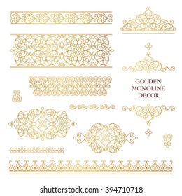 Vector set of line art frames, vignettes for design template. Element in Eastern style. Golden outline floral borders. Mono line decor for invitations, greeting cards, certificate, thank you message.