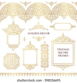 Vector set of line art frames, seamless borders for design template. Eastern style element. Golden outline floral decor. Mono line illustration for invitations, cards, certificate, thank you message.