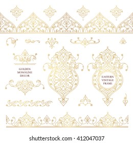 Vector set of line art frames and borders for design template. Elements in Eastern style. Golden outline floral frames. Mono line decor for invitations, greeting cards, certificate, thank you message.
