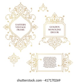 Vector set of line art frames for design template. Element in Eastern style. Golden outline floral frames. Mono line decor for invitations, greeting cards, certificate, thank you message.