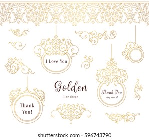 Vector set of line art frames and borders for design template. Element in Eastern style. Golden outline floral frames. Mono line decor for invitations, greeting cards, labels, tags, thank you message