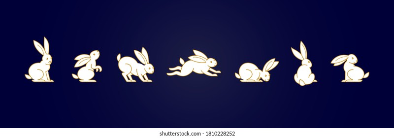 Vector set with line art rabbit. Icons, symbols, logo design elements, illustration of stylized cute bunnies. Be used for Easter cards, Mid Autumn Festival greetings. Isolated. Flat design style.