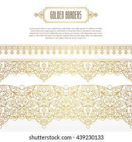 Vector set of line art seamless borders for design. Element in Eastern style. Golden outline floral decor for invitation, greeting card, thank you message, wallpaper, web page template.