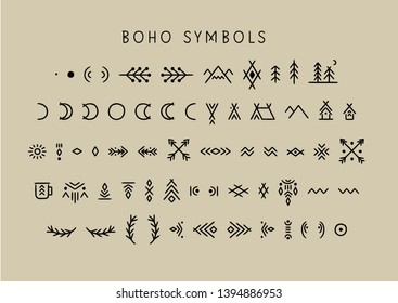 Vector set of line art symbols for logo design and lettering in boho style.