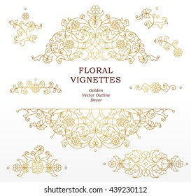 Vector set of line art vignettes for design template. Element in Eastern style. Golden outline floral frames. Mono line decor for invitations, greeting cards, certificate, thank you message.