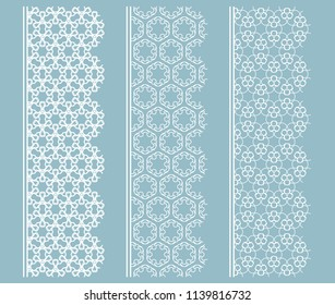 Vector set of line borders with geometric repeating texture. Isolated design elements for page decoration, headline, banners, wedding invitation cards. Fashion white lace collection