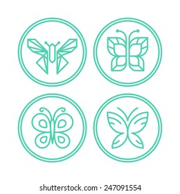 Vector set of line butterfly logos and icons - design elements for spa, cosmetics and organic shops