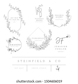 Vector set of line design elements for floral logos, frames and border. Decorated with detailed delicate flowers and brunches