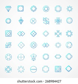 Vector set of line emblems. Abstract hipster logo templates. Hipster style.