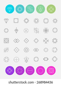 Vector set of line emblems. Abstract hipster logo templates. Hipster style