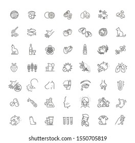 Vector set line icons of allergy. Food and Pollen