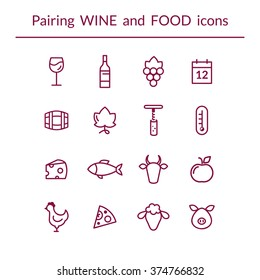 Vector set of line icons for wine and food pairing or matching, such as cheese, fish,  fruits, bottle, glass, grapes, temperature, calendar. Modern outlined style