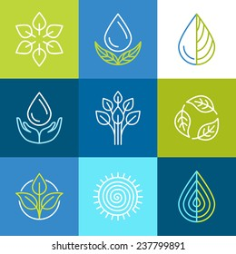 Vector set of line logos and signs - organic emblems and ecology badges