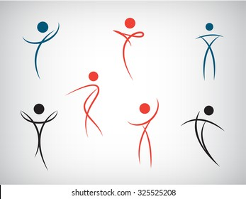 Vector set of line man, human shapes. Use for logos, icons, illustrations. Dance, fitness, health, beauty, sport.
