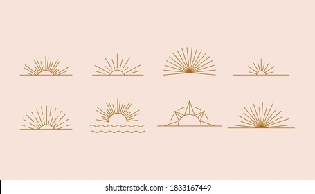 Vector set of linear boho icons and symbols - sun logo design templates  - abstract design elements for decoration in modern minimalist style for social media posts, stories, for artisan jewellery, ha