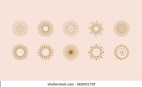 Vector set of linear boho icons and symbols - sun logo design templates  - abstract design elements for decoration in modern minimalist style for social media posts, stories, for artisan jewellery,