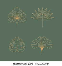 Vector set of linear boho icons and symbols - floral  design templates - abstract design elements for decoration in modern minimalist style